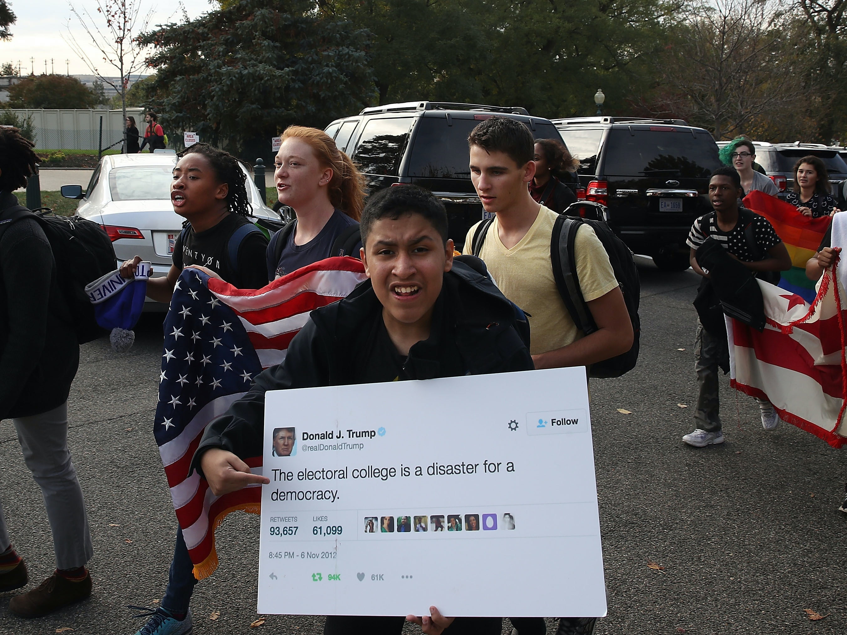 DC area students protest the election of President-elect Donald Trump, while marching past the U.S. Capitol. The election of Trump as president has sparked protests in cities across the country.