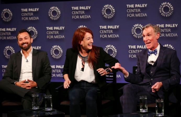 Bill Nye with correspondents Joanna Hausmann and Derek Muller.