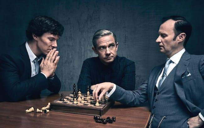 Bennedict Cumberbatch, Martin Freeman, and Mark Gatiss in 'Sherlock'