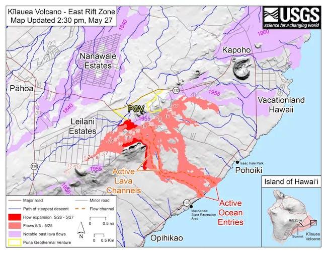 hawaii volcano map