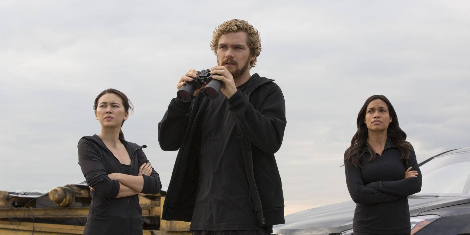 Finn Jones, Jessica Henwick, and Rosario Dawson in 'Iron Fist'