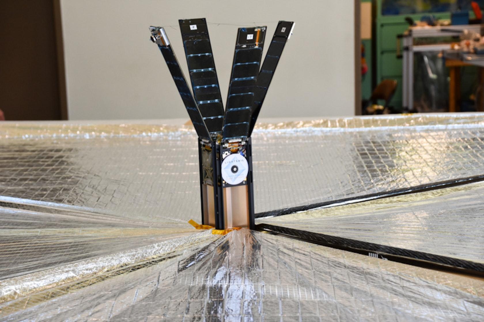 LightSail-2 unfurls its solar sails during testing.