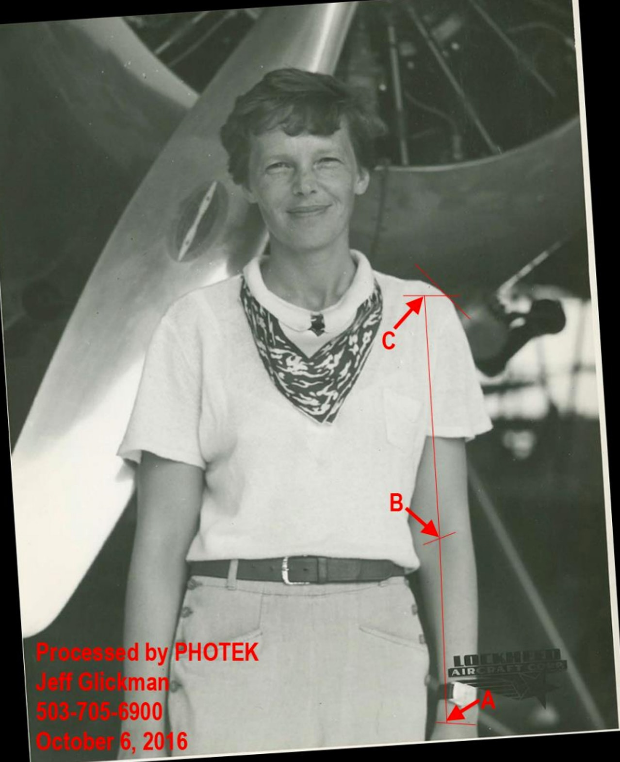 Annotated image of Earhart with analysis landmarks.
