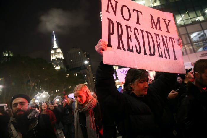Hundreds of anti-Donald Trump protestors march through the streets of New York on their way to Trump Tower on November 9, 2016.