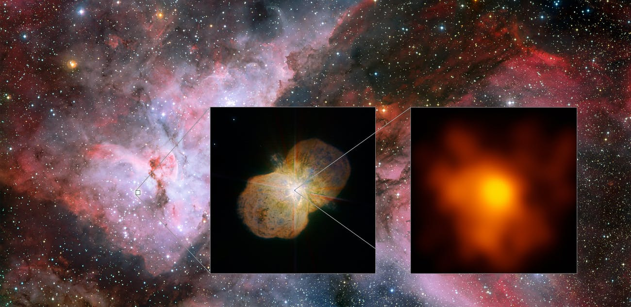 This mosaic shows the Carina Nebula (left part of the image), home of the Eta Carinae star system. This part was observed with the Wide Field Imager on the MPG/ESO 2.2-metre telescope at ESO's La Silla Observatory. The middle part shows the direct surrounding of the star system: the Homunculus Nebula, created by the ejected material from the Eta Carinae system. This image was taken with the NACO near-infrared adaptive optics instrument on ESO's Very Large Telescope. The right image shows the innermost part of the system as seen with the Very Large Telescope Interferometer (VLTI). It is the highest resolution image of Eta Carinae ever.