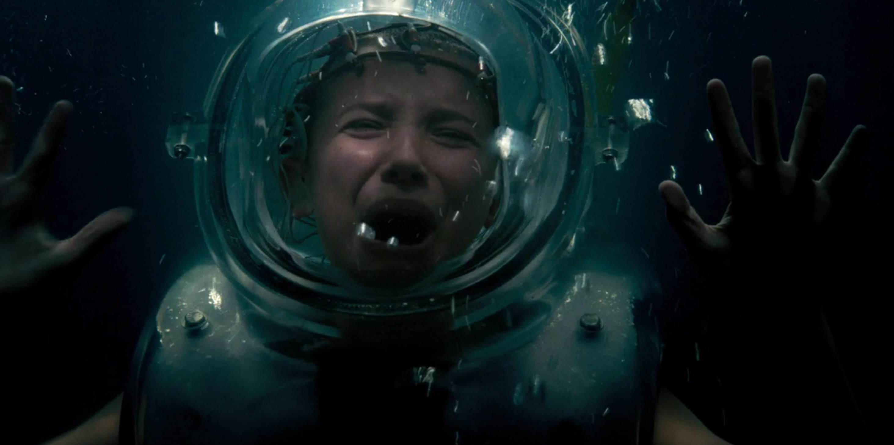 """Eleven in a """"Stranger Things"""" version of a sensory deprivation tank."""