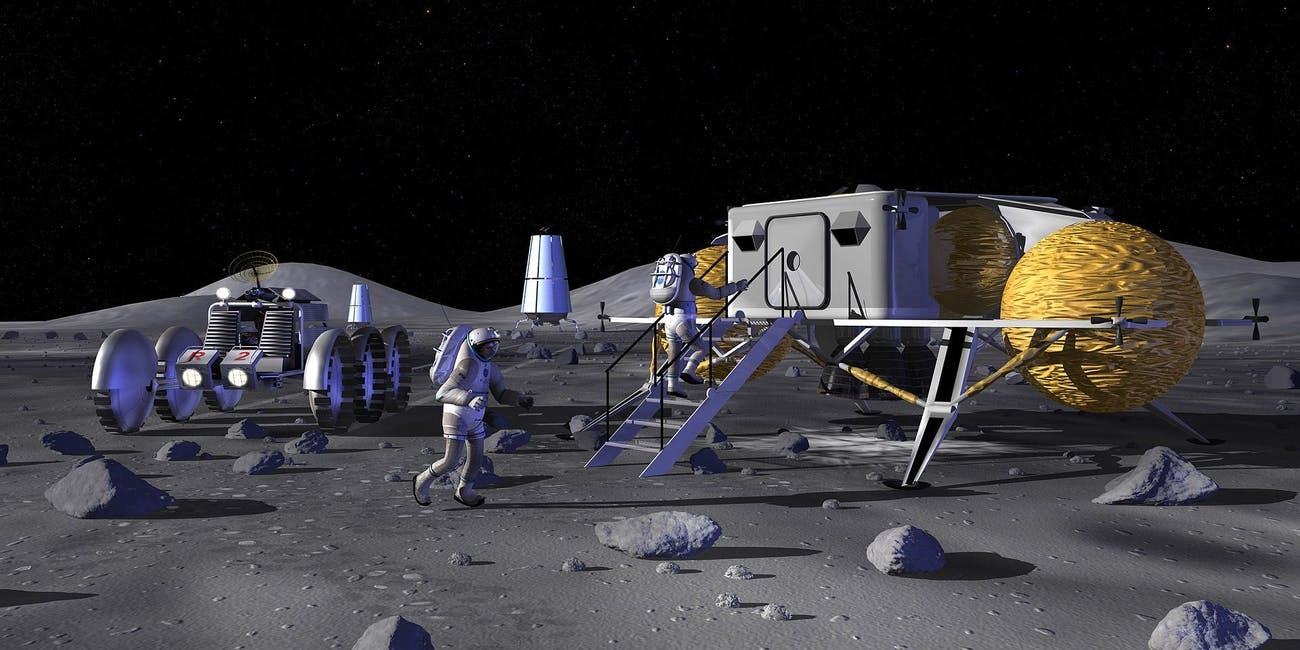 An artist's rendering of a base on the Moon.
