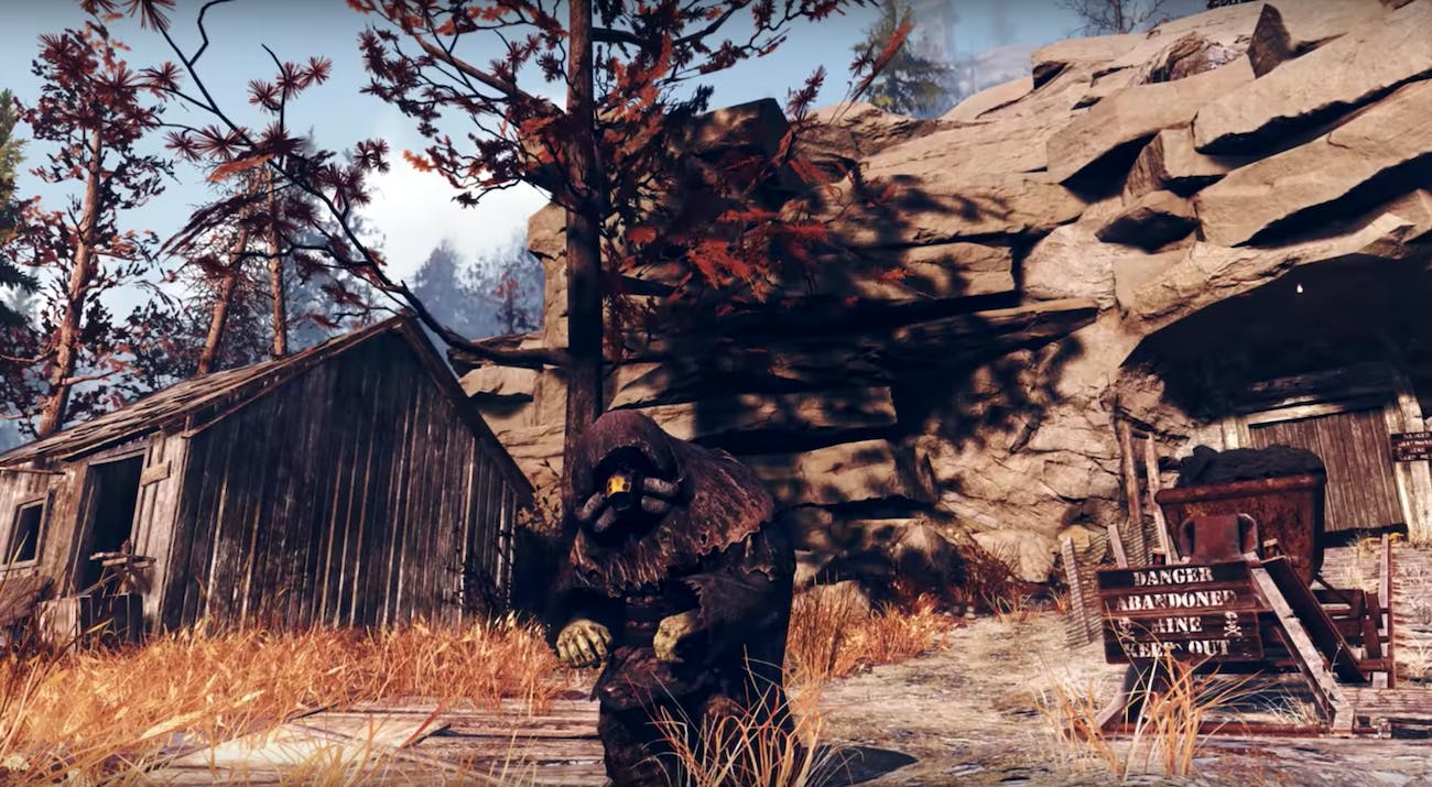 mysterious figure in front of mine fallout 76 trailer