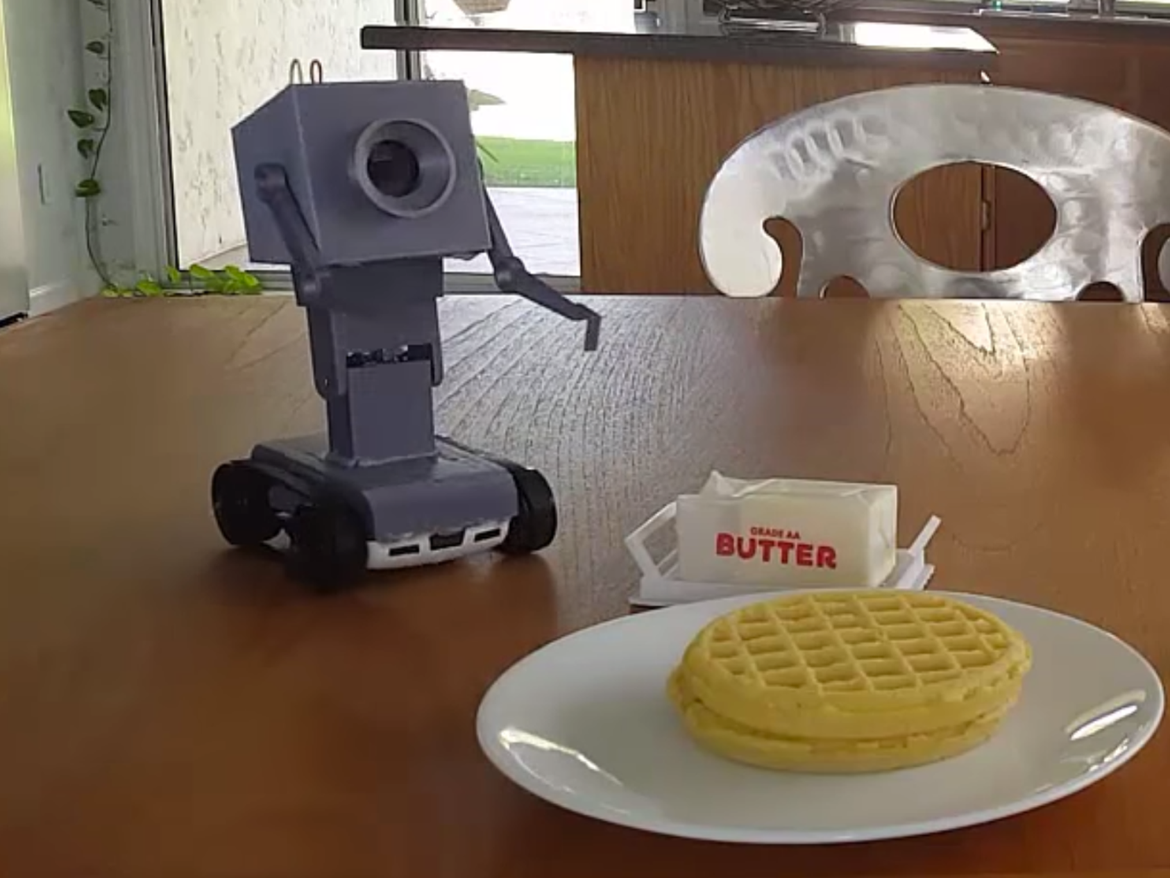 Somebody made an IRL version of the existential robot that passes butter from 'Rick and Morty'