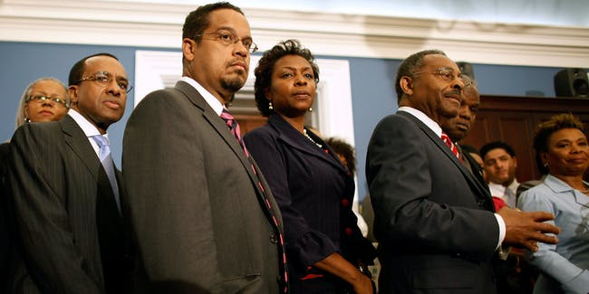 Congressional Black Caucus members (R-L) Chair Rep. Barbara Lee (D-CA); Rep. David Scott (D-GA), Sen. Roland Burris (D-IL), Rep. Yvette Clarke (D-NY) and Rep. Keith Ellison (D-MN) hold a news conference about health care reform at the U.S. Capitol September 9, 2009 in Washington, DC. Lee said the caucus expects President Barack Obama to show support for a 'robust' public option during his speech to Congress tonight.