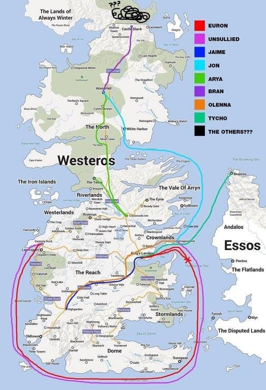 'game of thrones' map shows season 7 travel paths