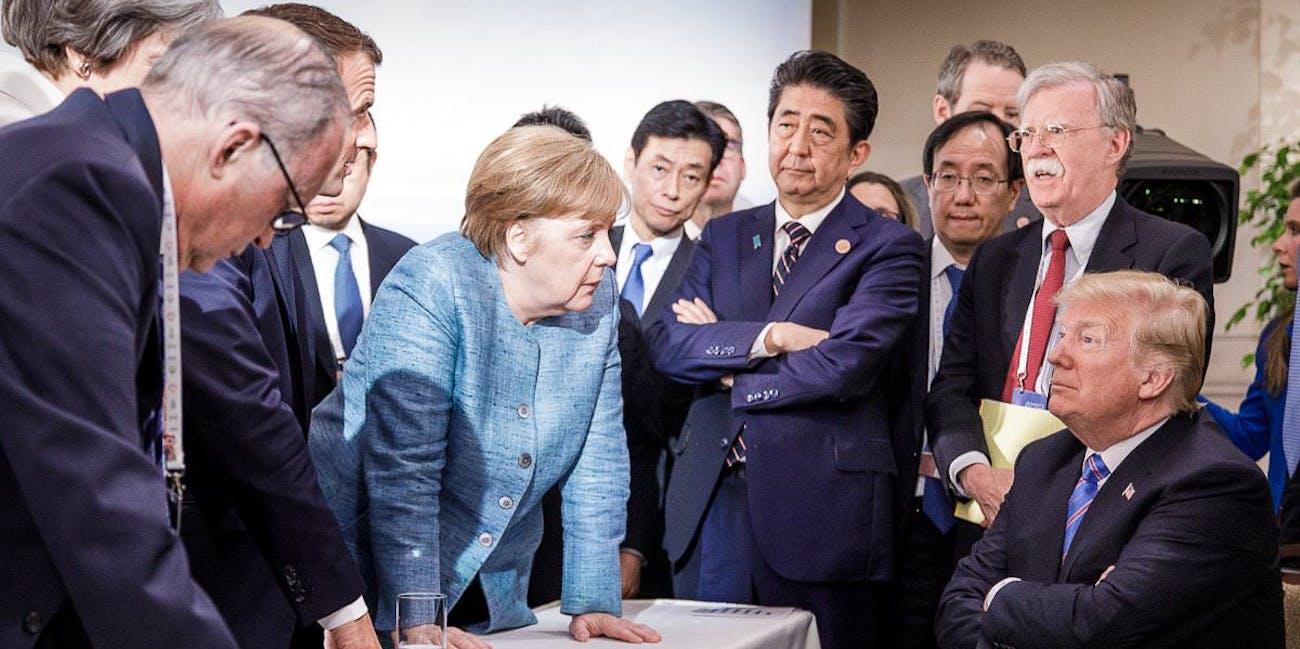 trump merkel g7 meme