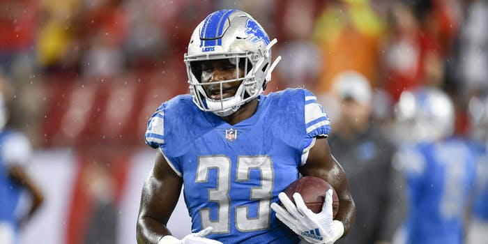Detroit Lions running back Kerryon Johnson (33) warms up prior to the first half of an NFL preseason game between the Detroit Lions and the Tampa Bay Buccaneers on August 24, 2018, at Raymond James Stadium in Tampa, FL.