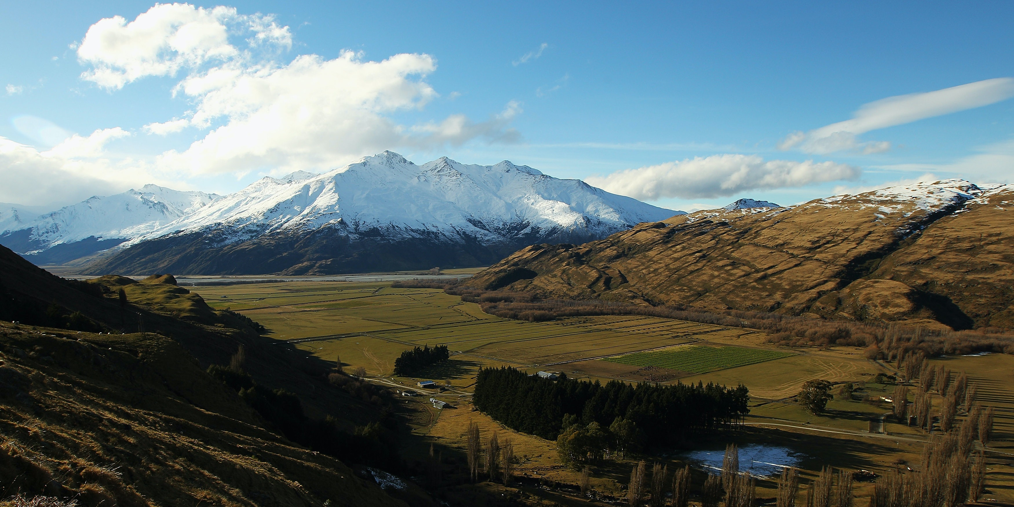WANAKA, NEW ZEALAND - JULY 28:  A view of rural farmland from the Southern Alps on July 28, 2011 in Wanaka, New Zealand.  (Photo by Cameron Spencer/Getty Images)