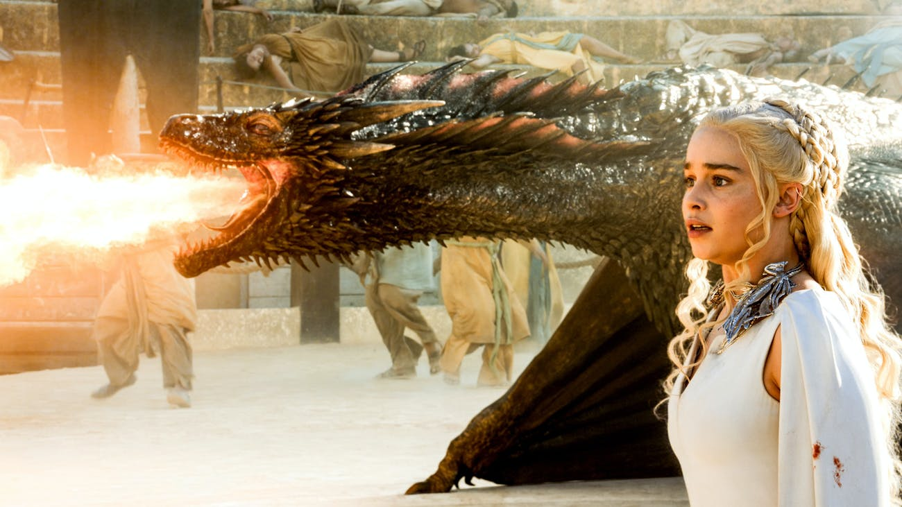 Emilia Clarke as Daenerys Targaryen and her dragons on 'Game of Thrones'