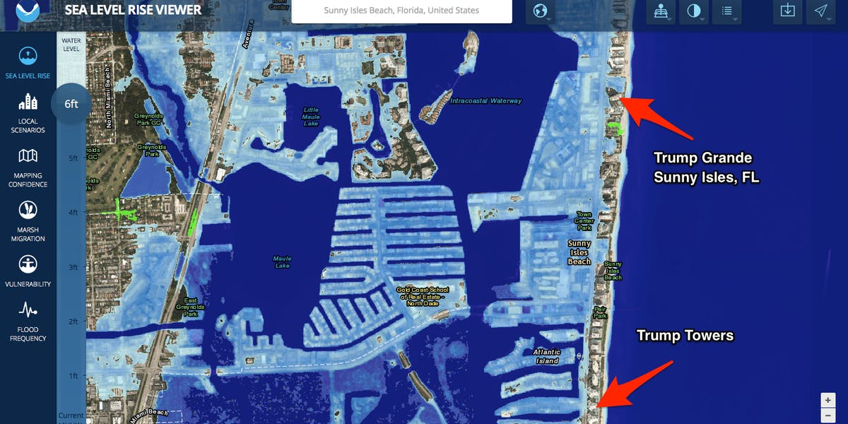 Many Trump Properties Could Be Underwater Due To Rising Sea Levels - Projected sea level rise map