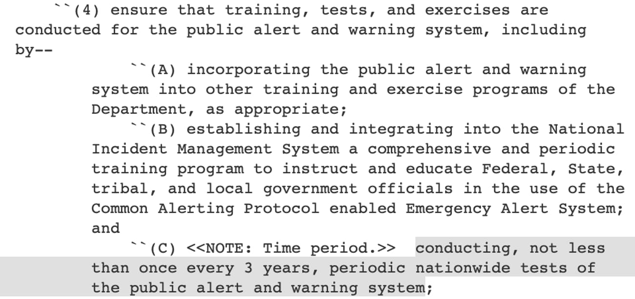 Congress' law that mandates regular tests.