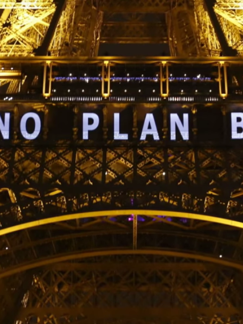 """The Eiffel Tower bore this message on Friday: """"NO PLAN B."""""""