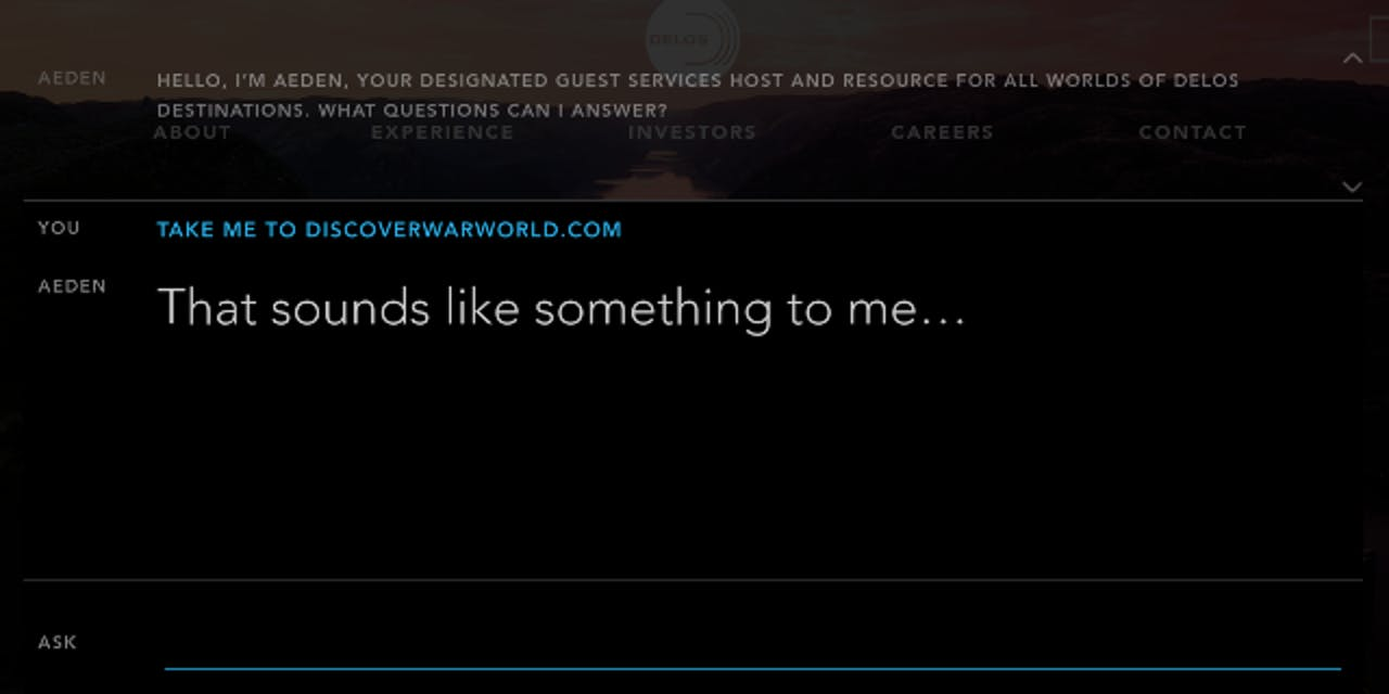 Aeden bot asked about War World on Westworld/Delos website