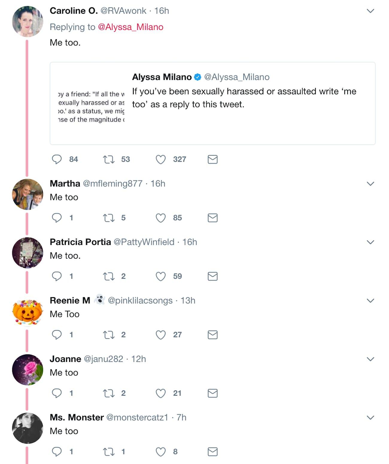 Replies to Milano's tweet.