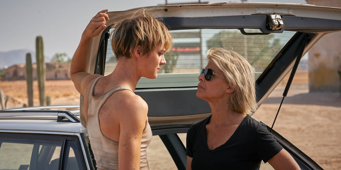 Mackenzie Davis and Linda Hamilton in 'Terminator: Dark Fate'.