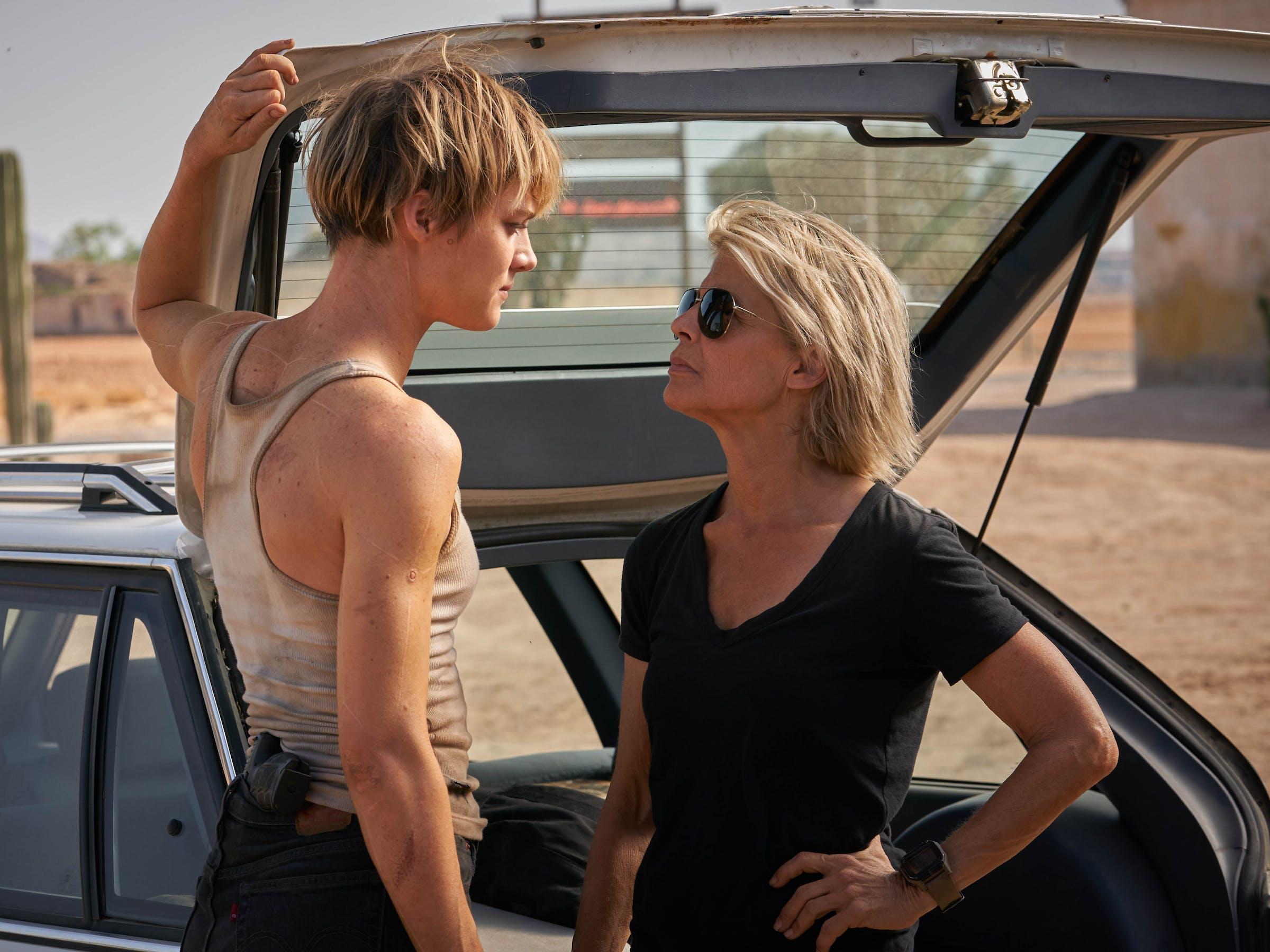 Mackenzie Davis and Linda Hamilton in 'Terminator: Dark Fate'.