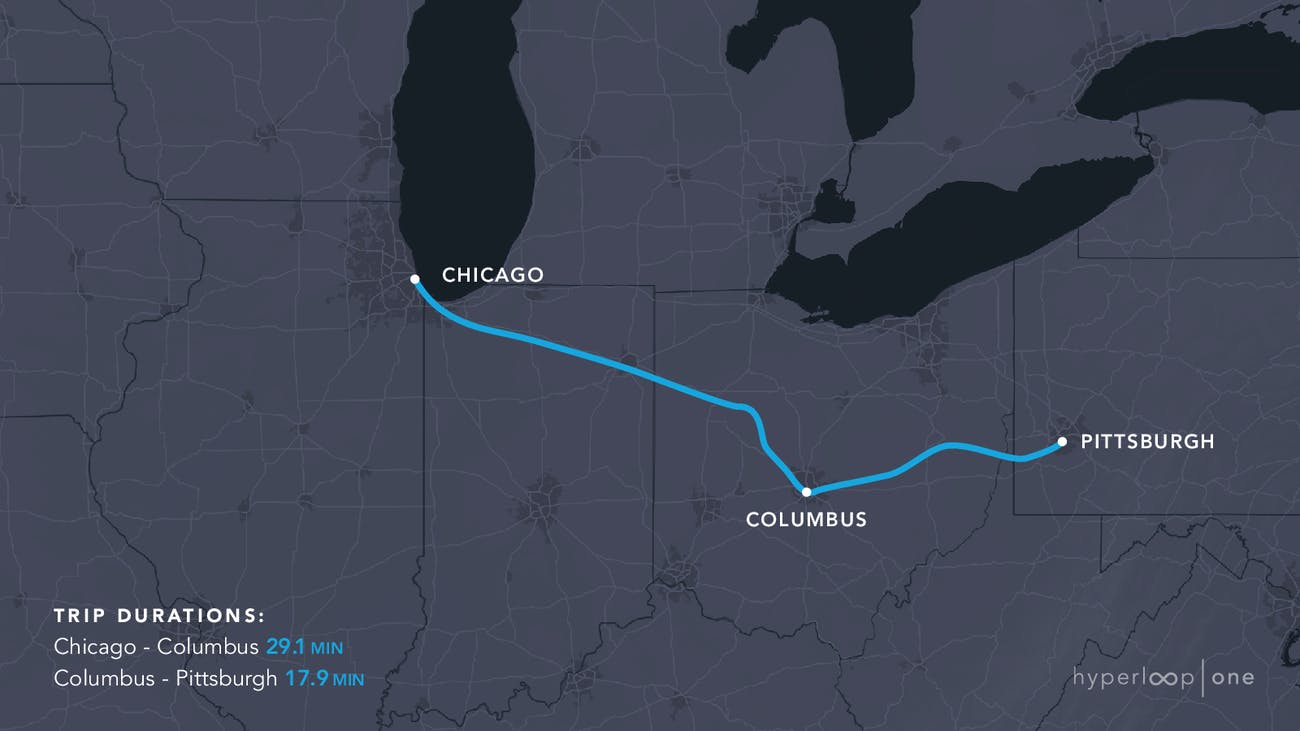 The Chicago-Pittsburgh route.