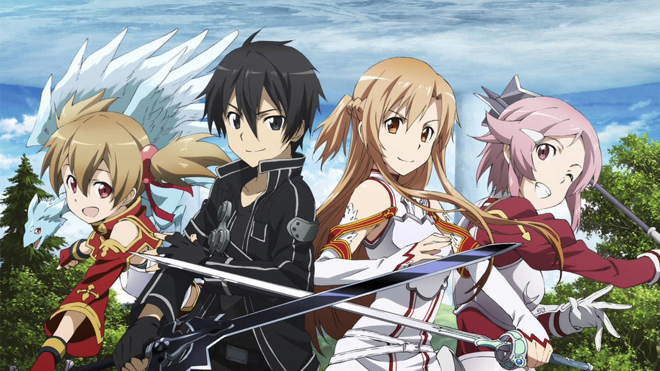 Kirito with three of his many romantic prospects.