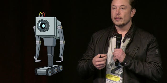 Elon Musk's 'Rick and Morty' shirt has the Butter Robot on it.