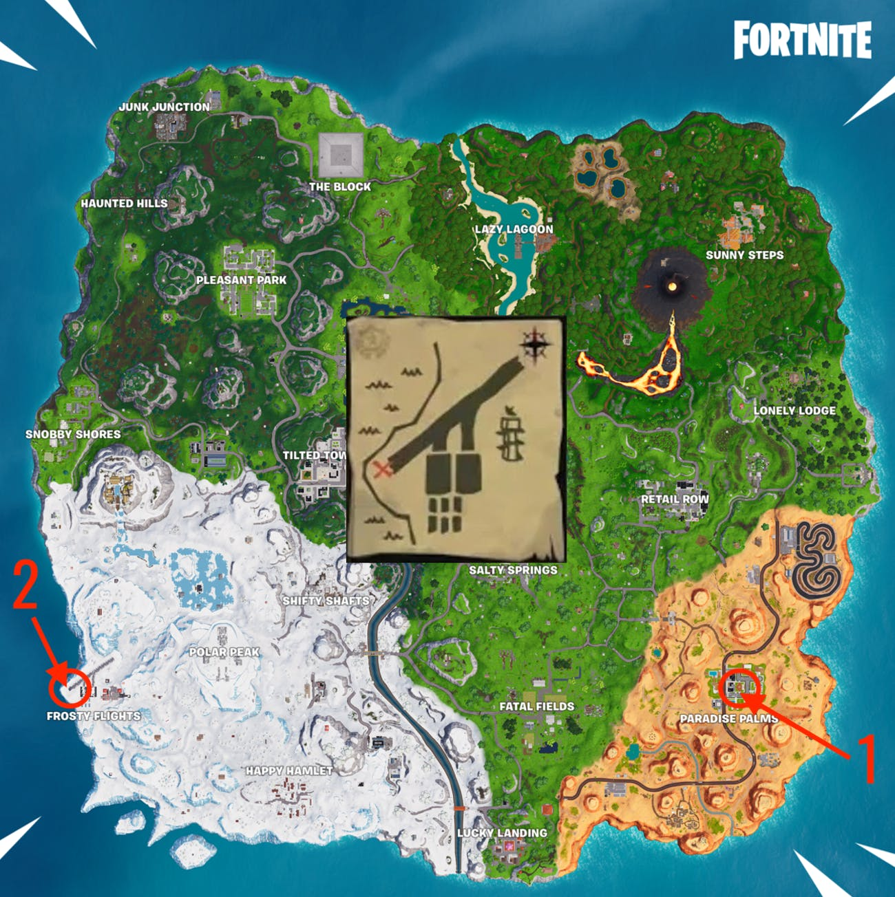 Fortnite Season 8 Week 8 paradise palms treasure map signpost locations