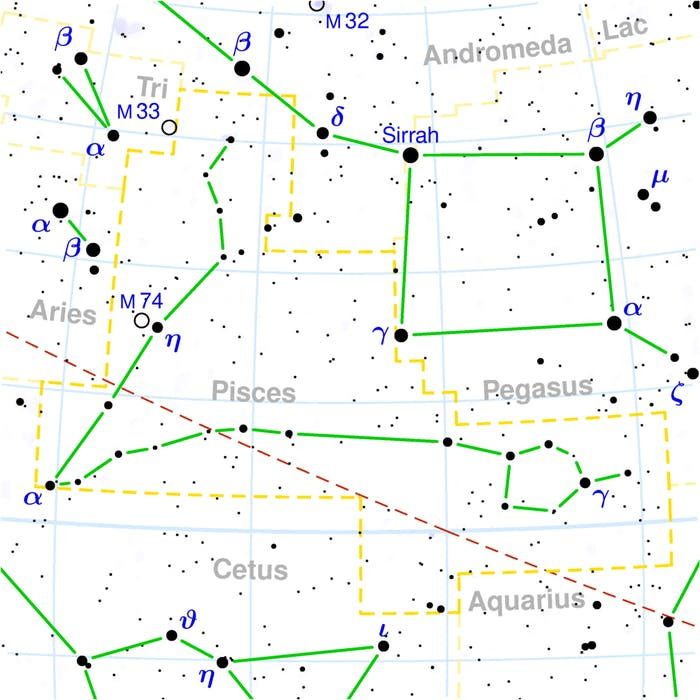 Uranus will be visible close to where the red dashed line passes through the V of Pisces.