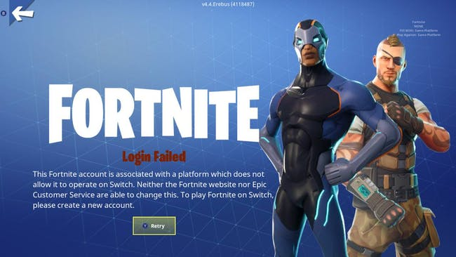 'Fortnite' Nintendo Switch error message