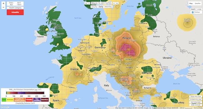 air pollution poland map berkeley earth