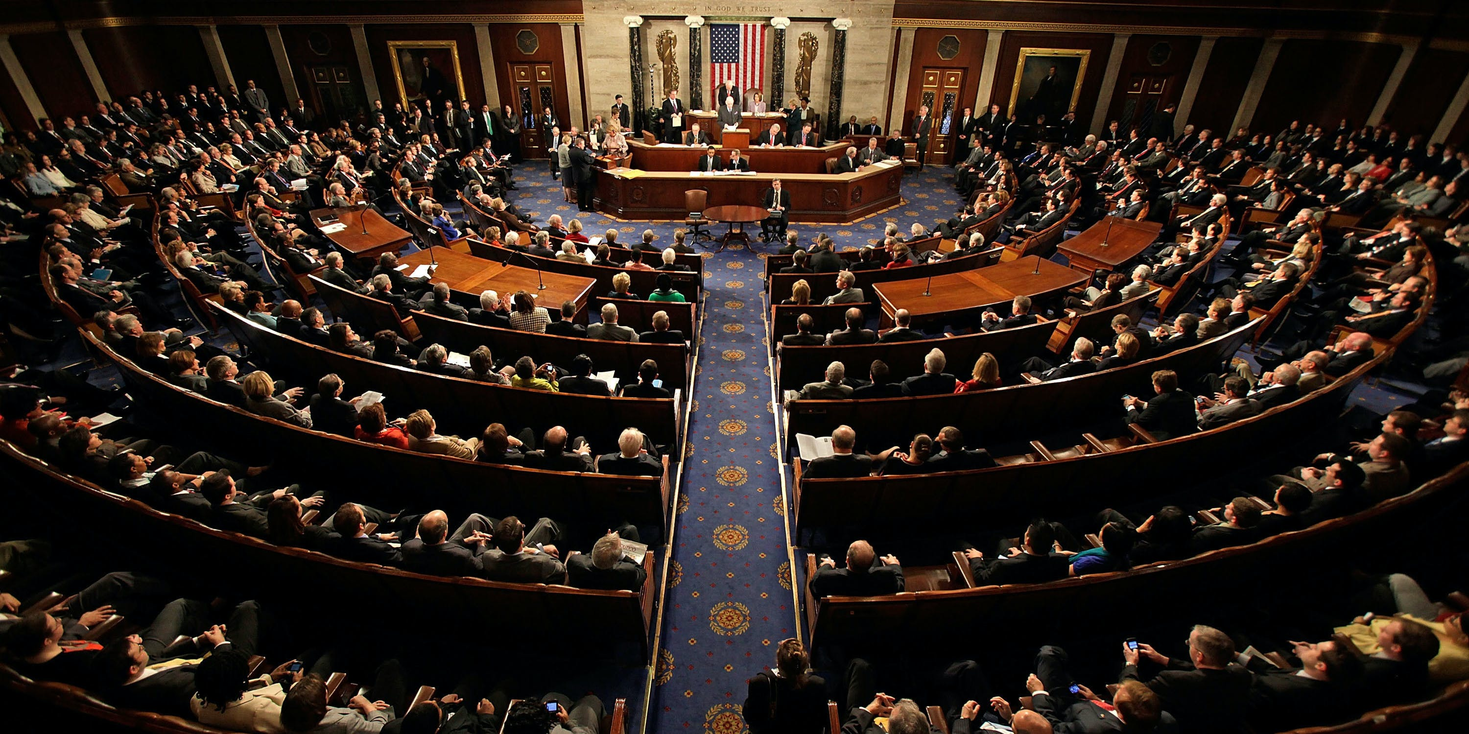 A joint session of Congress meets to count the Electoral College vote from the 2008 presidential election the House Chamber in the U.S. Capitol  January 8, 2009 in Washington, DC. Congress met in a joint session to tally the Electoral College votes and certify Barack Obama to be the winner of the 2008 presidential election.