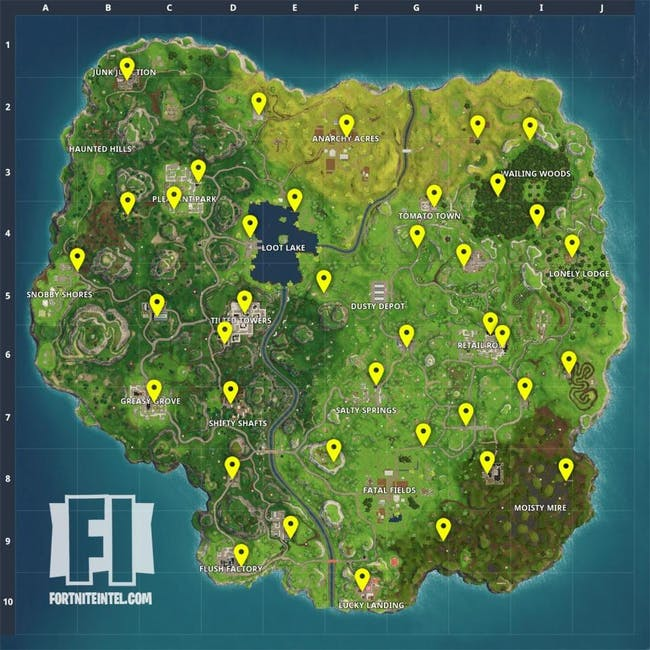 Vending machine spawn locations on the 'Fortnite: Battle Royale' map.