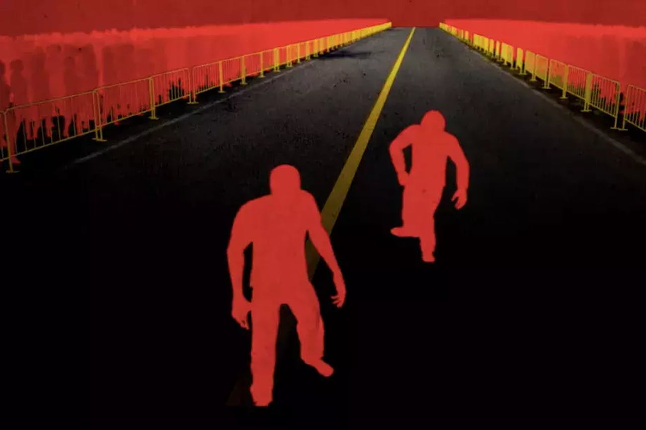 A still from 'The Long Walk', an animated short by Adriano Gazza based on Stephen King's short story