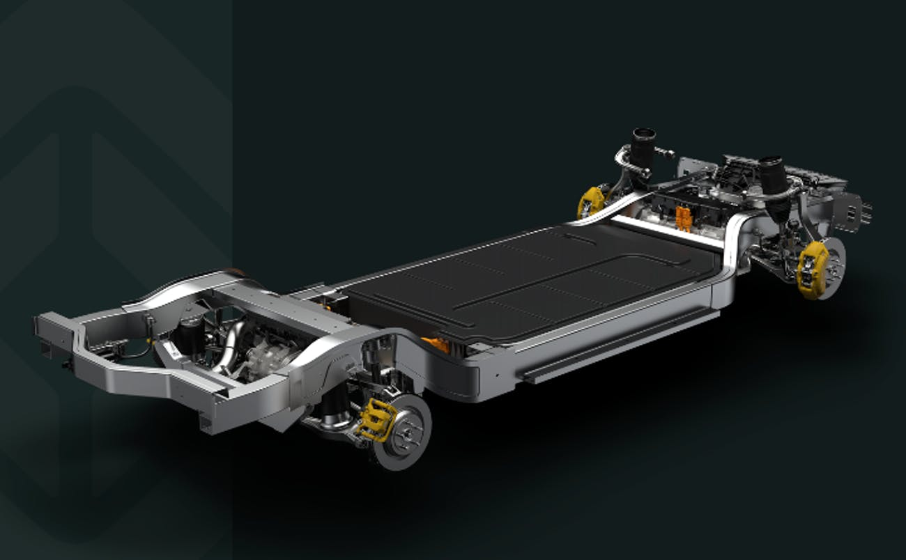 "A rendering of the Rivian ""skateboard."""
