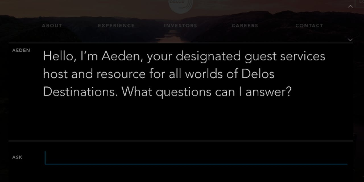 Aeden bot intro message from Westworld/Delos website