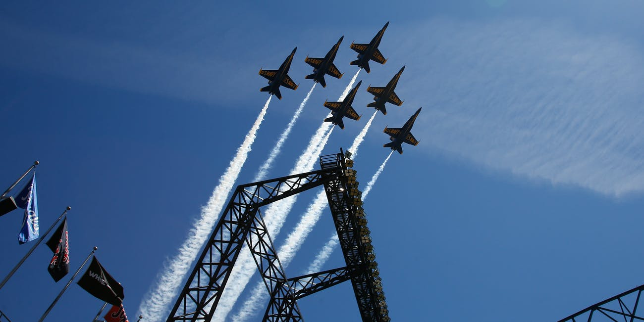 SEATTLE, WA - JULY 29: The Blue Angels fly over the ballpark prior to the game between the Arizona Diamondbacks against the Seattle Mariners at Safeco Field on July 29, 2015 in Seattle, Washington. The Diamondbacks defeated the Mariners 8-2. (Photo by Otto Greule Jr/Getty Images)