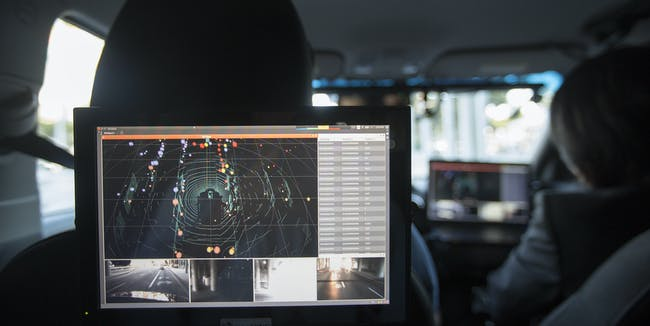LOS ANGELES, CA - NOVEMBER 17: Data from LIDAR, radar, cameras and GPS units are seen inside a car equipped with using PolySync autonomy system development for creating and deploying driverless vehicles being demonstrated during the four-day auto trade show AutoMobility LA at the Los Angeles Convention Center on November 17, 2016 in Los Angeles, California. AutoMobility LA precedes the ten-day LA Auto Show, open to the public November 18 through 27.  (Photo by David McNew/Getty Images)