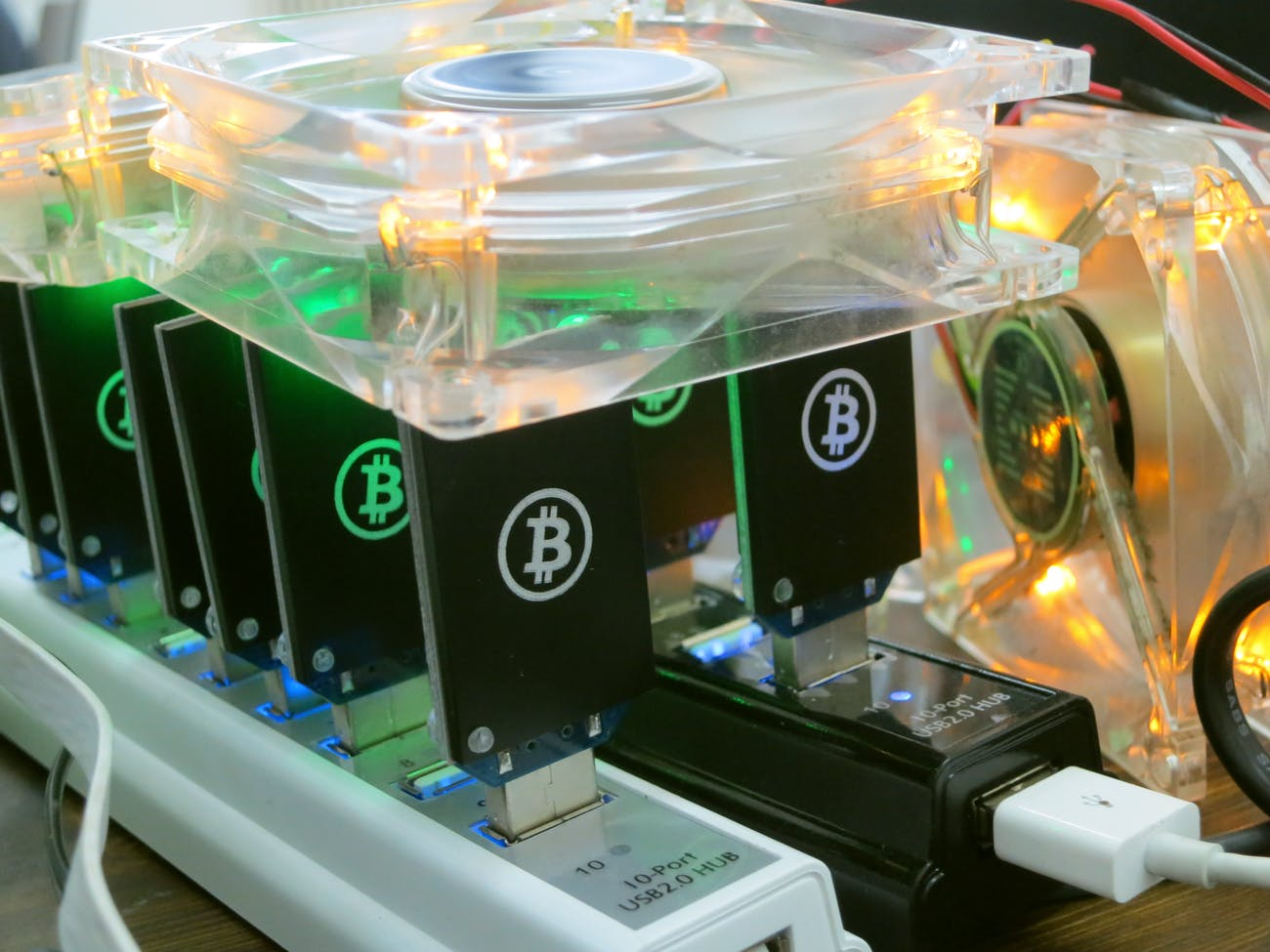A series of secpailly-designed Bitcoin miners at work.