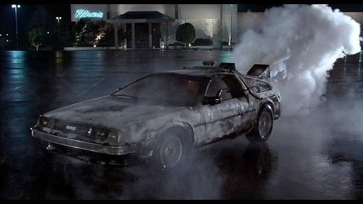 The DeLorean also appeared to travel through really cold temperatures.
