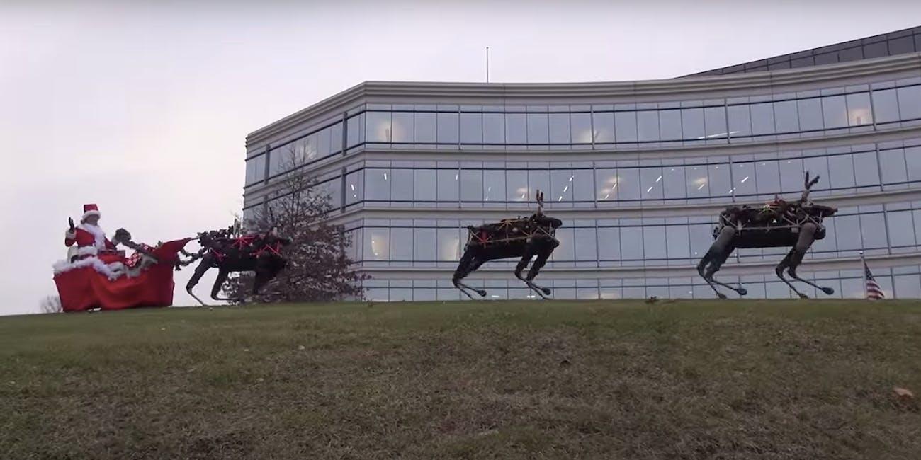 Boston Dynamics  Christmas  holiday  video robot santa clause
