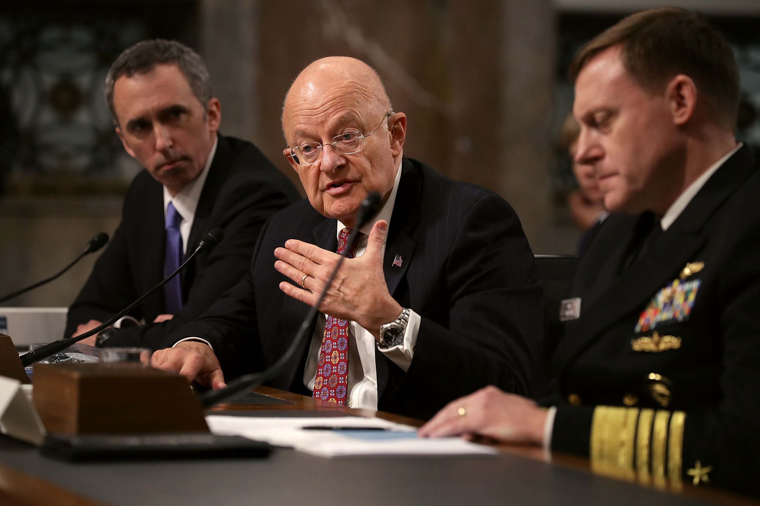 Defense Undersecretary for Intelligence Marcell Lettre II, Director of National Intelligence James Clapper and United States Cyber Command and National Security Agency Director Admiral Michael Rogers testify before the Senate Armed Services Committee on Thursday.