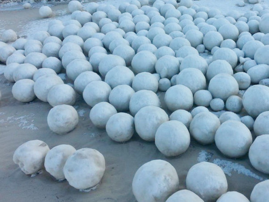 Mutant Snowballs Appear on Russian Beach