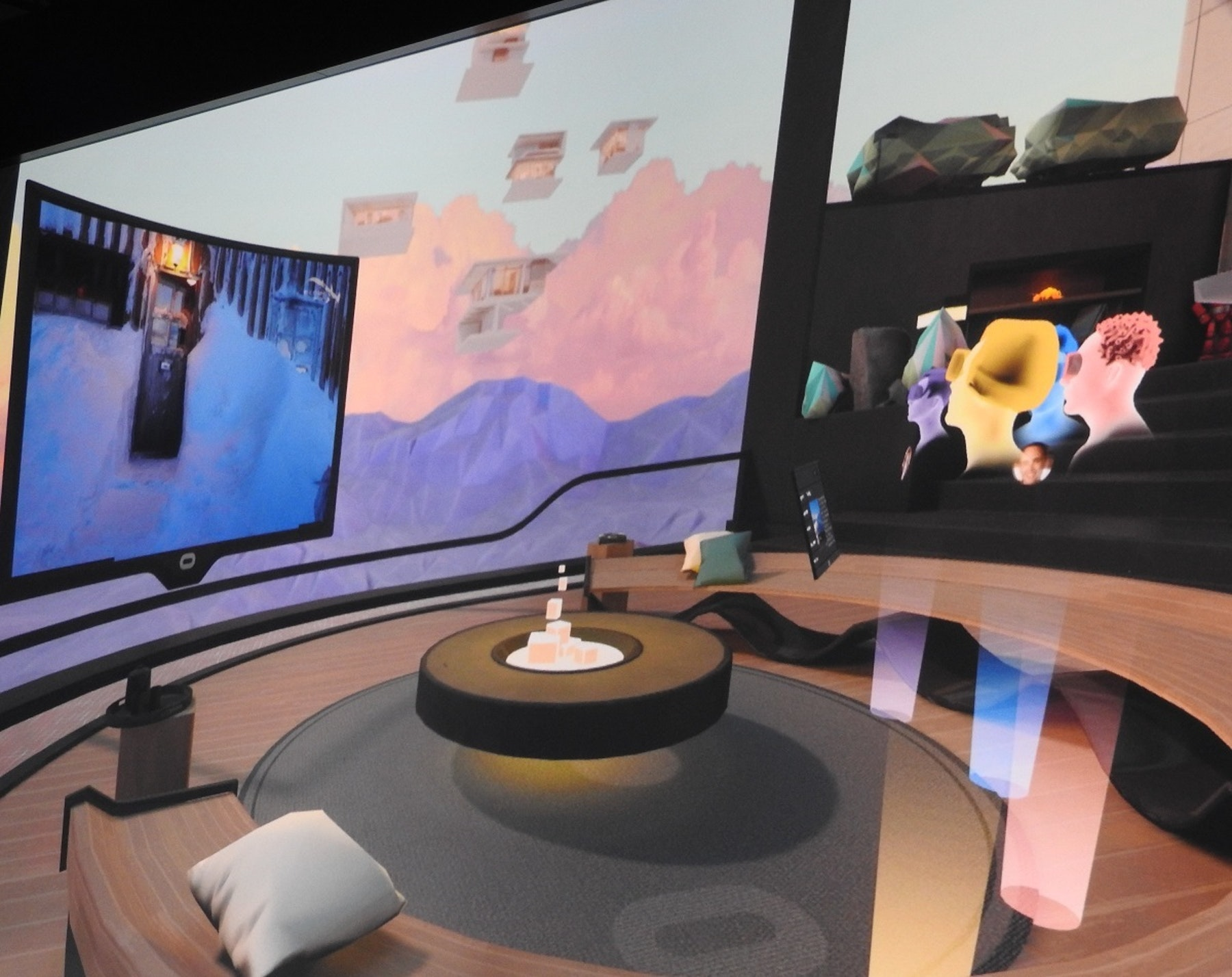 Watching a movie with friends in virtual reality via Oculus Rooms.