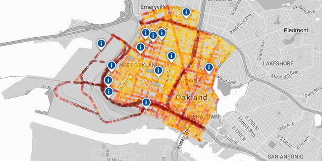 black carbon Oakland Google Street View map pollution