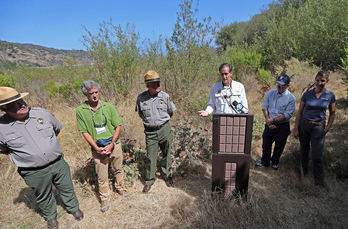 A 2016 ceremony for the delisting of the island fox, which federal officials announced had recovered enough under a dozen years of protection by the ESA to be reclassified.