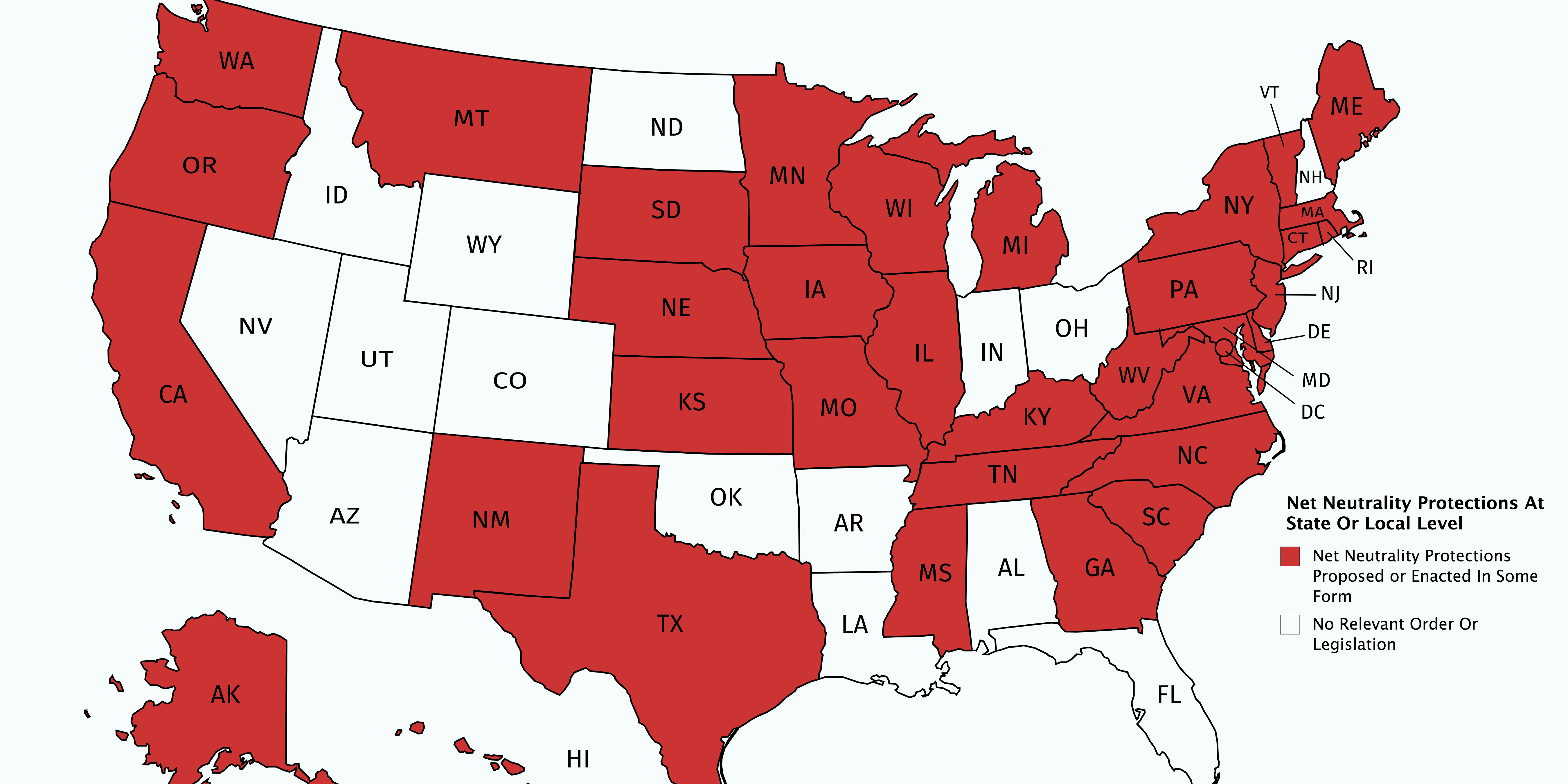 These Maps Show All the Cities and States Now Defending Net Neutrality – Spoiler alert: It's most of them.