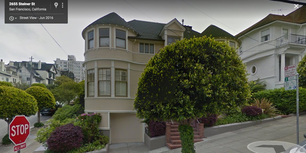 Google Street View Mrs Doubtfire house San Francisco map